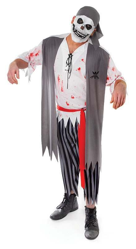 Ladies Zombie Bloody Pirate Man Halloween Outfit - One Size (Grey)