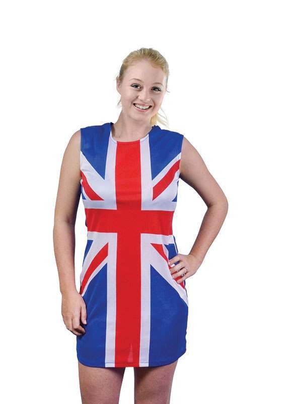 Ladies Union Jack Dress Outfit - One Size (Red, White, Blue)