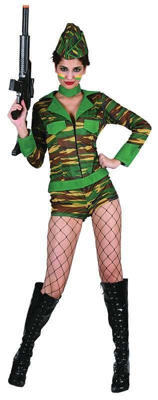 Ladies Soldier Playsuit + Hat Army Outfit - One Size (Camo )