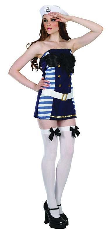 Ladies Flirty Sailor Set Sailor Outfit - One Size (Blue, White, Black)