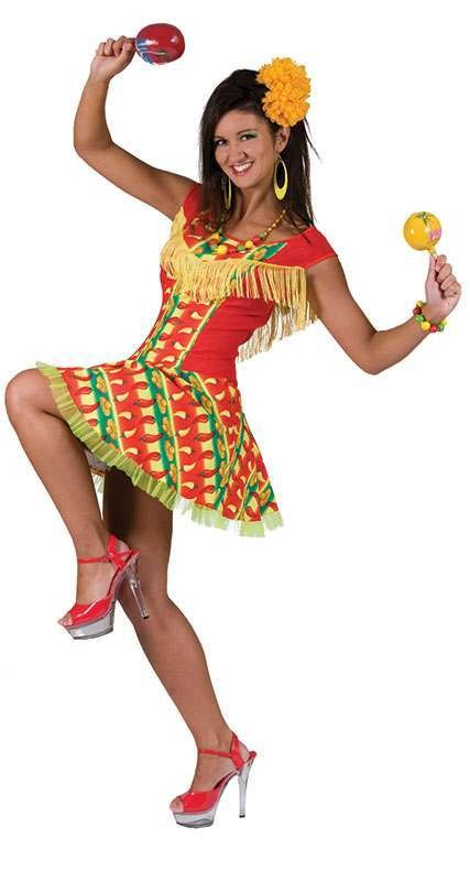 Ladies Mexican Lady Dress Mexican Outfit - One Size (Red)