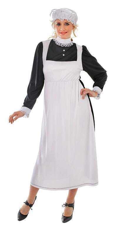Ladies Victorian Maid Victorian Outfit - One Size (Black, White)