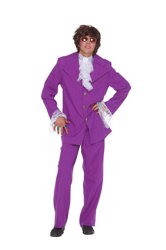 Mens Groovy Man Purple Suit Hippy Outfit - One Size (Purple)