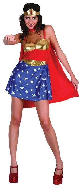 Ladies Super Woman Film Outfit - One Size (Red, White, Blue)