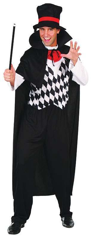 Mens Magician Cloak (+ Attached Shirt And Hat) Outfit - One Size (Black)