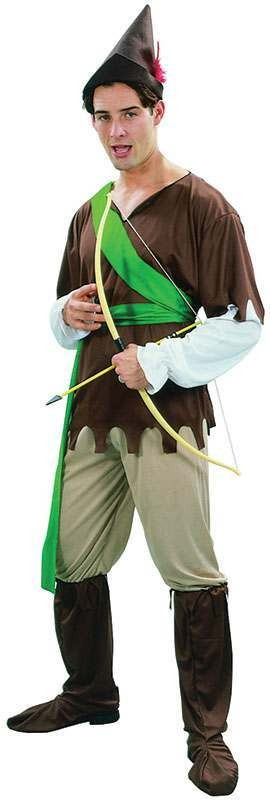 Mens Robin Hood (Tunic/Trousers/Boot Tops/Hat) Medieval - One Size