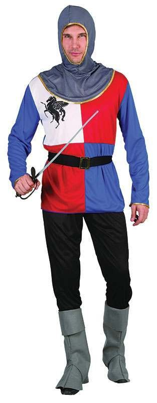 Mens Knight Tunic Medieval Outfit - One Size (Red, White, Blue)