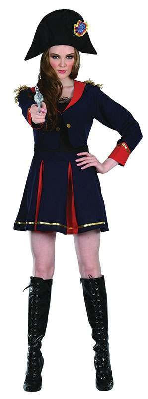 Ladies Pirate Captain. Female Pirates Outfit - One Size (Blue, Red)