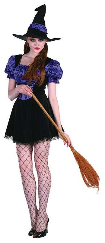 Ladies Witch Costume. Black/Purple + Hat Halloween Outfit - One Size (Purple)