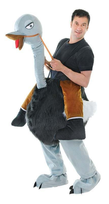 Mens Step In Ostrich Animal Outfit - (Black, Grey)