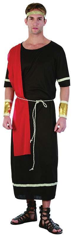 Ladies Caesar. Black Toga Roman Outfit - One Size (Black)