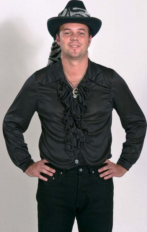 Frilly Man'S Shirt Black Ff (Fancy Dress Costume)