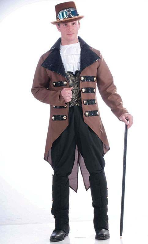 Mens Steampunk Jacket - (Brown)