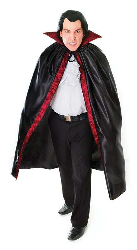 Mens Dracula Cape. Satin With Lace Trim - (White)