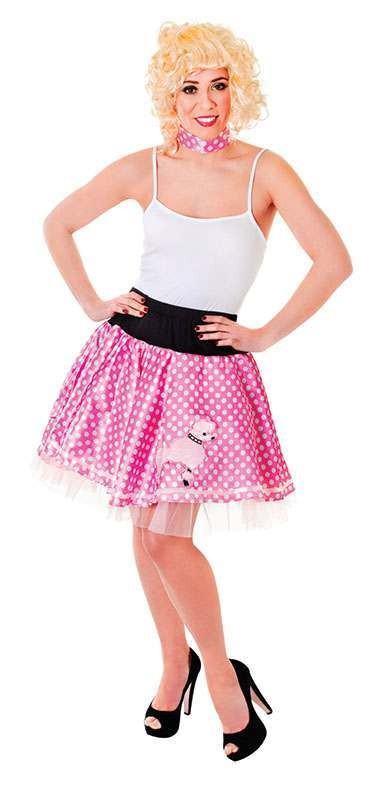 Ladies Poodle Skirt. Pink/White Outfit - (Pink, White)