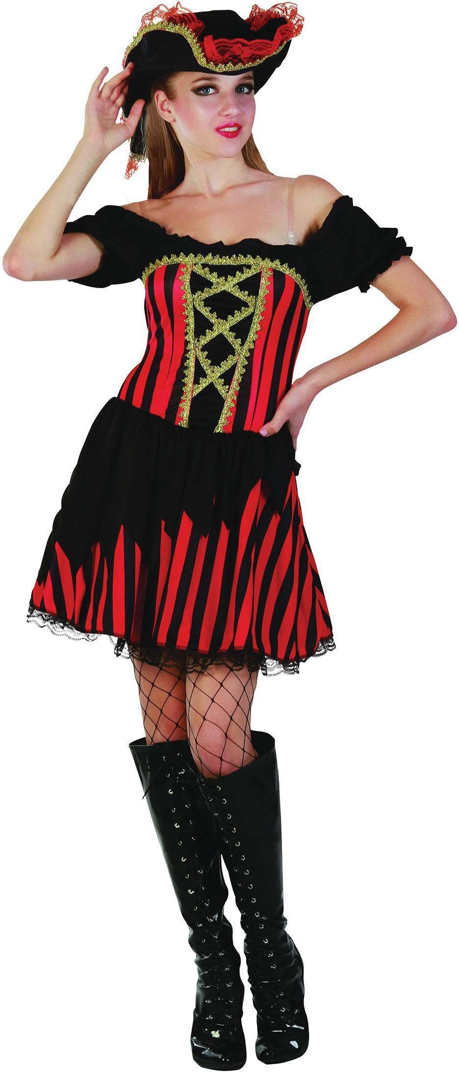 Ladies Red&Black Striped Pirate Dress