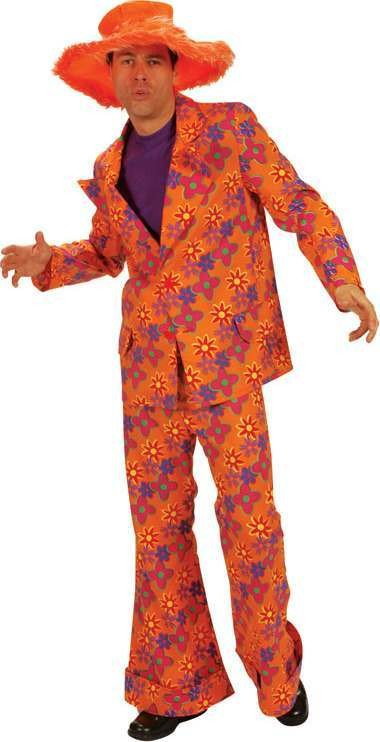 70'S Suit Orange/Flowery 56/58 Fancy Dress Costume