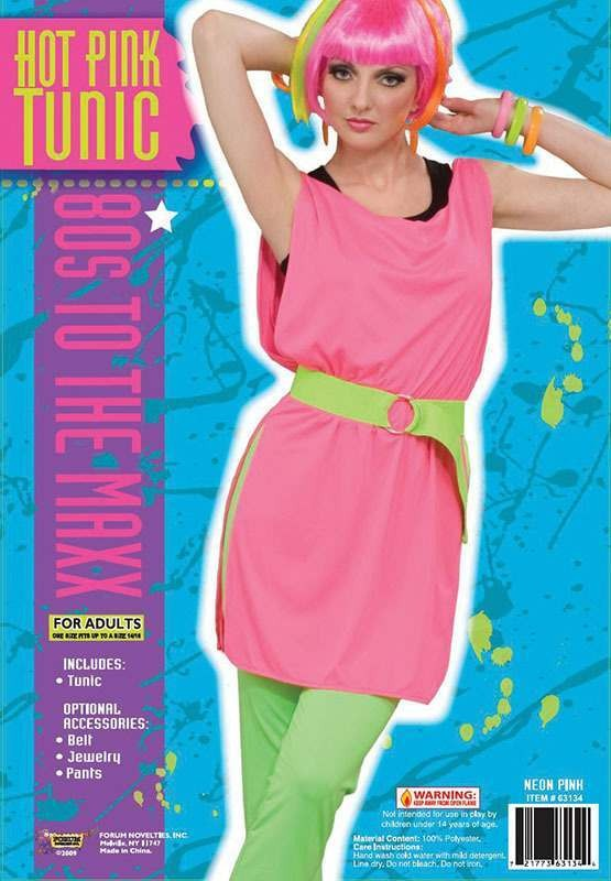 80'S Hot Pink Tunic (Fancy Dress Costume)