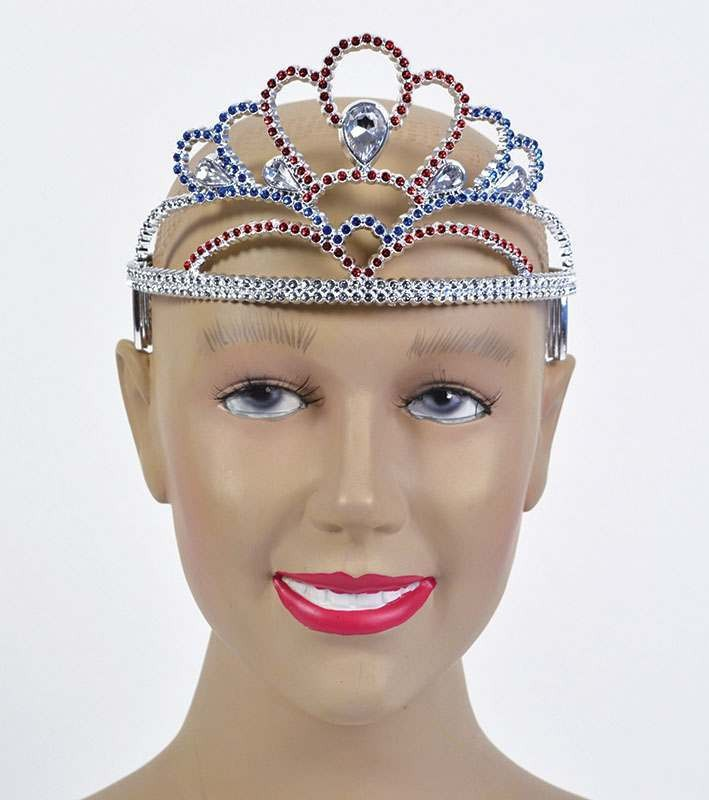 Tiara Plastic. Red/Silver/Blue Accessories