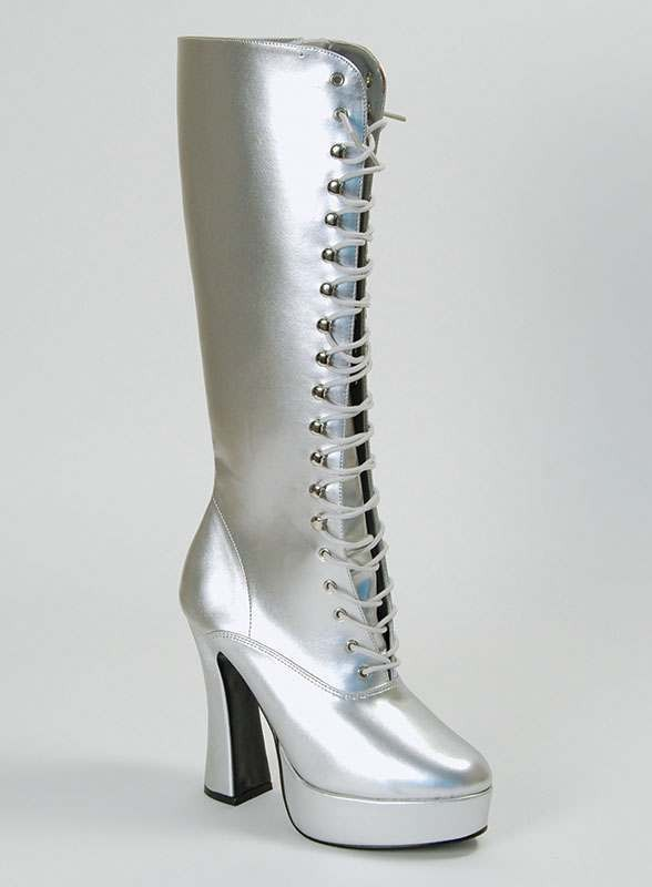 Sexy Lace Silver Boots. Ladies (Fancy Dress Shoes)