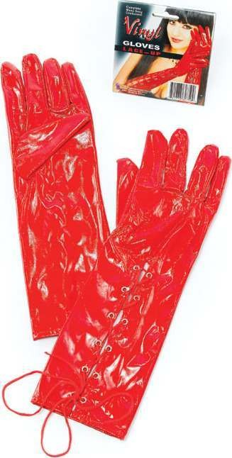 Vinyl Lace Up Gloves. Long Red (Fancy Dress Gloves)
