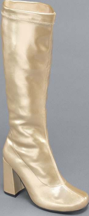 Go Go Boots. Gold Stretch (Fancy Dress Shoes)