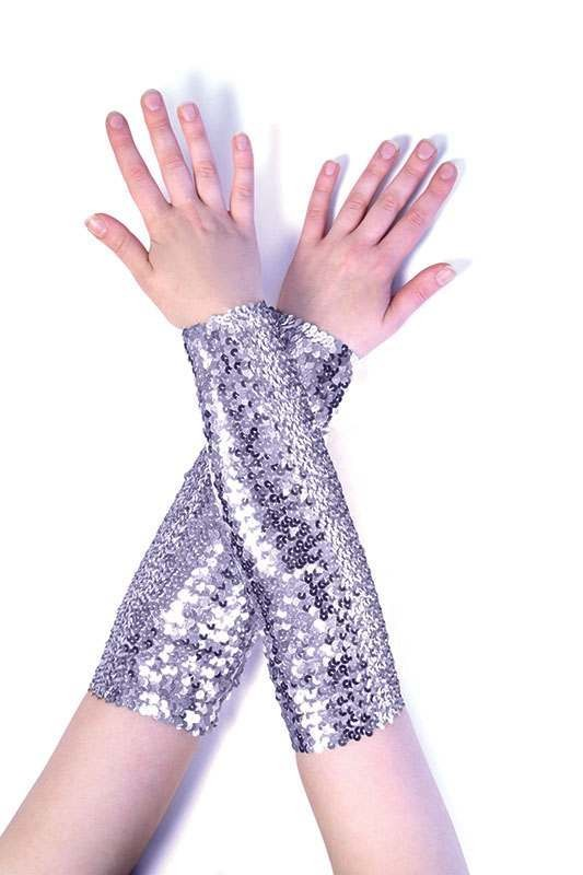 Sequin Arm Sleeves Silver Accessories