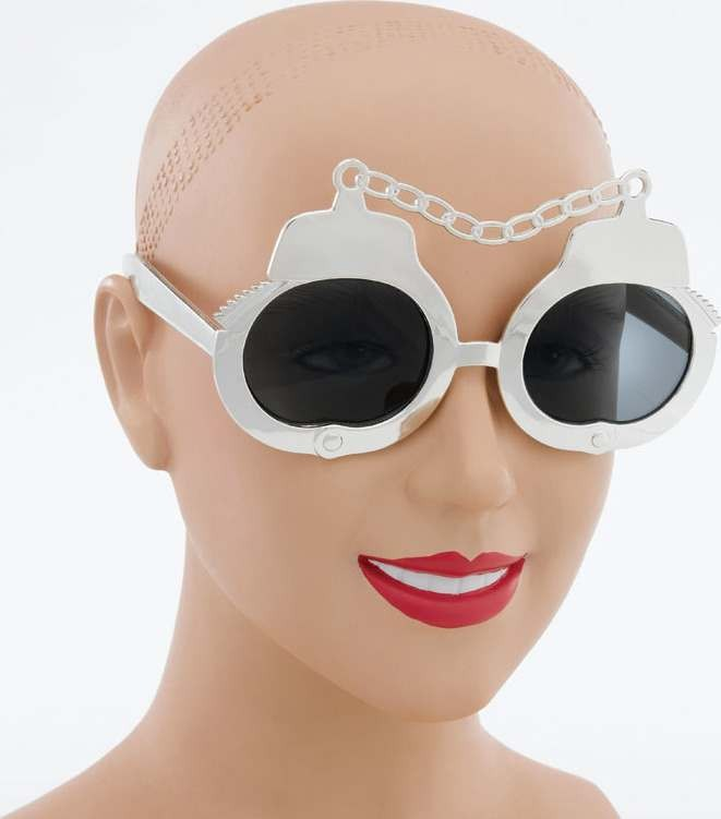 Handcuff Sunglasses. Silver (Fancy Dress)