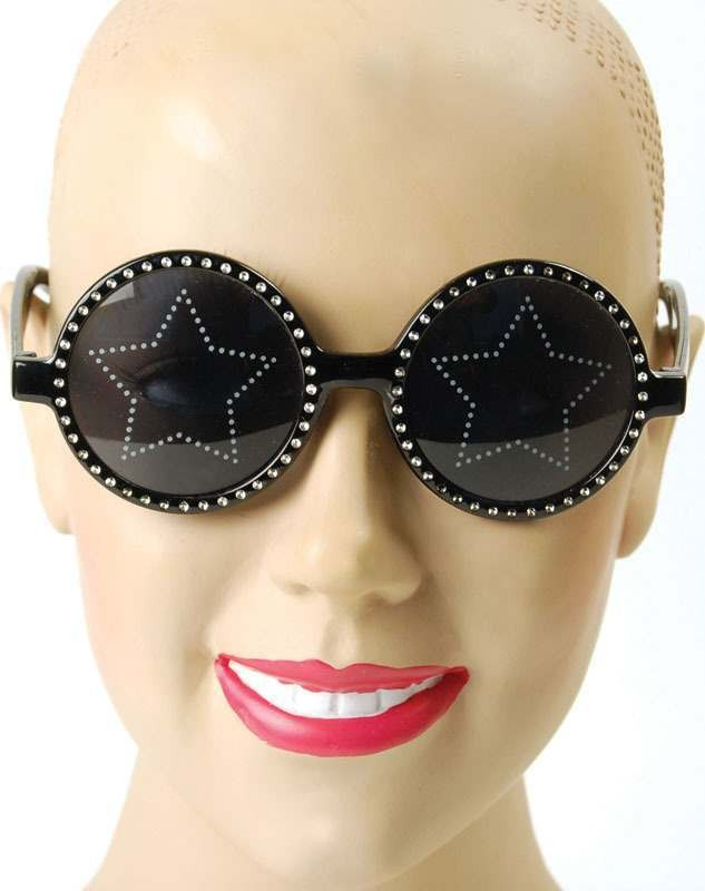Hippy Glasses. Black/Star Lens (1960S Fancy Dress Glasses)