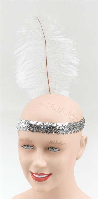 Silver Sequin Headband. White Feather (Fancy Dress)