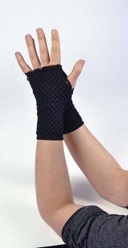Fishnet Gloves Black Double Layered Accessories