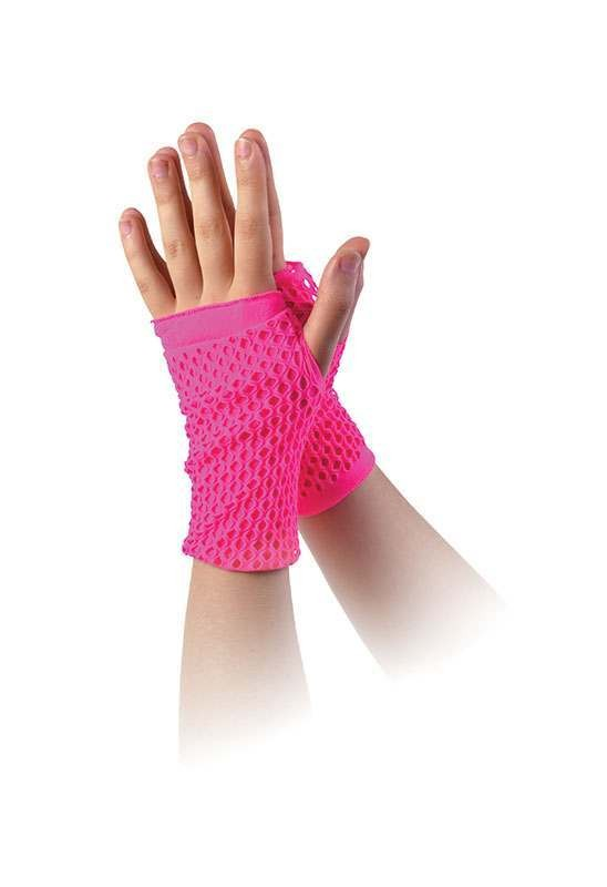 Fishnet Gloves Pink Double Layered Accessories