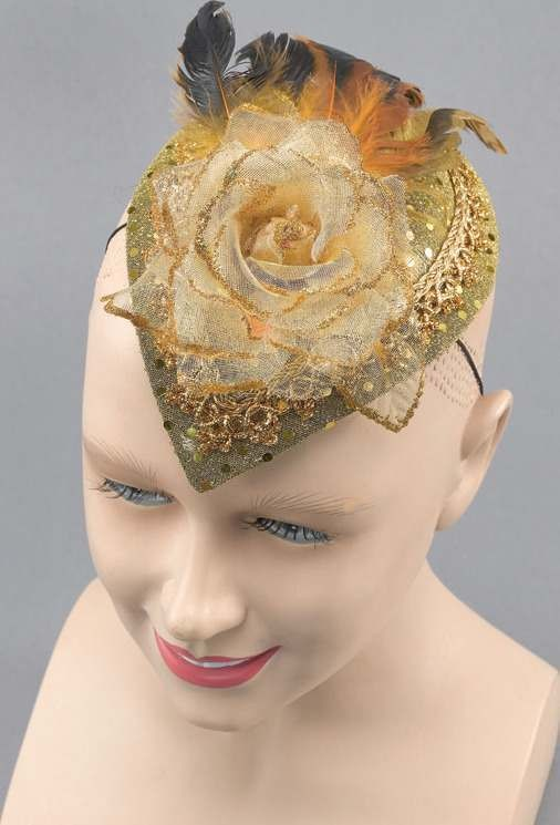 Teardrop Hat. Gold Rose (Fancy Dress)