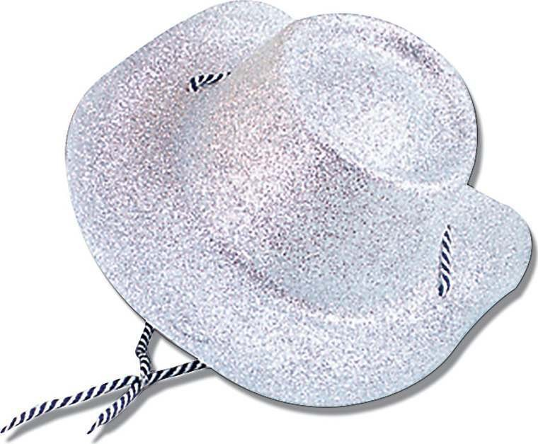 Cowboy Hat Glitter Silver (Cowboys/Native Americans Fancy Dress Hats)