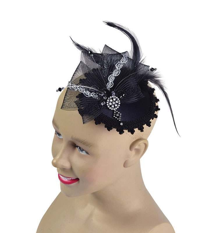 Fancy Mini Hat With Comb. Black Hats