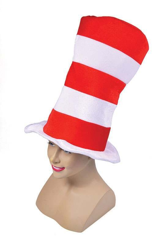 Red/White Striped Top Hat. Adult Hats