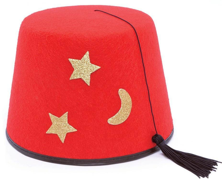Mens Red Fez With Gold Moon And Stars