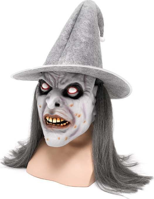 Zombie Witch Mask + Grey Hat (Halloween Masks)