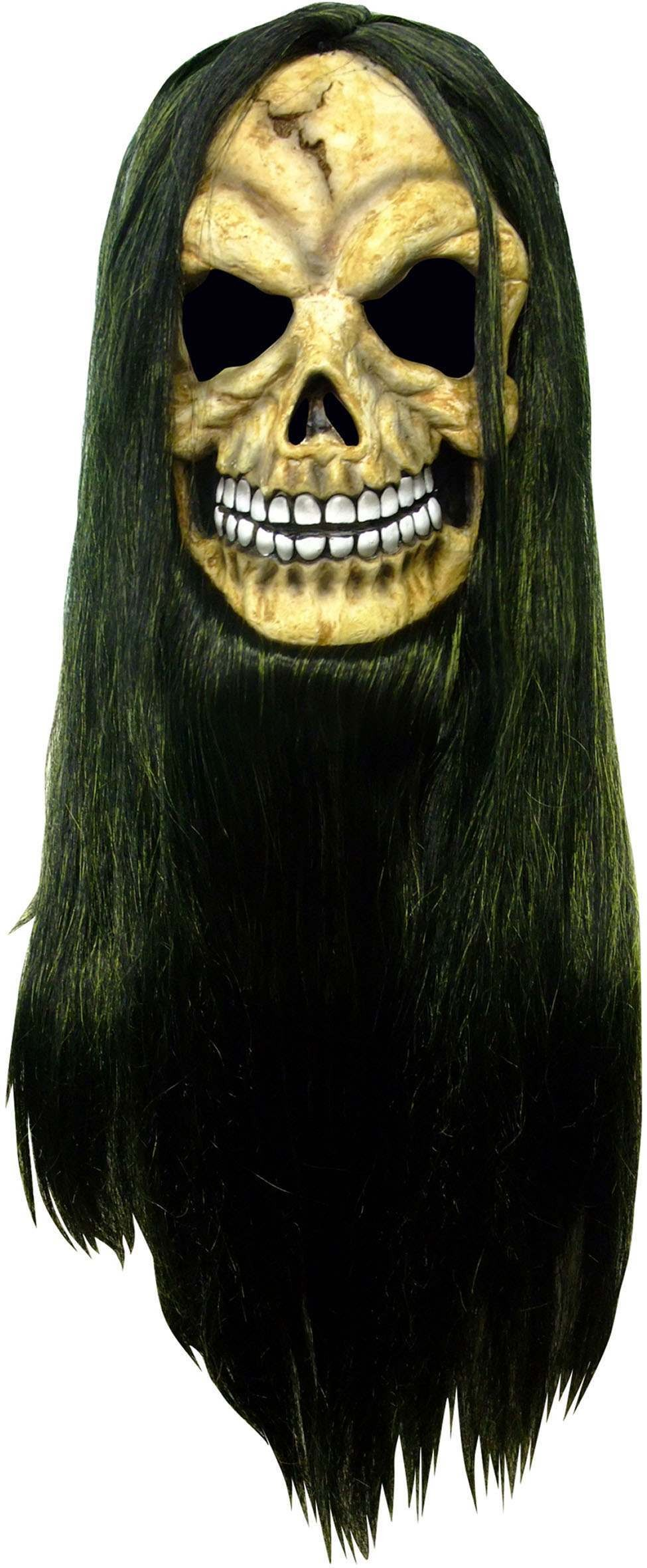 One Size Halloween Skull Mask Green/Black With Hair Fancy Dress Accessory