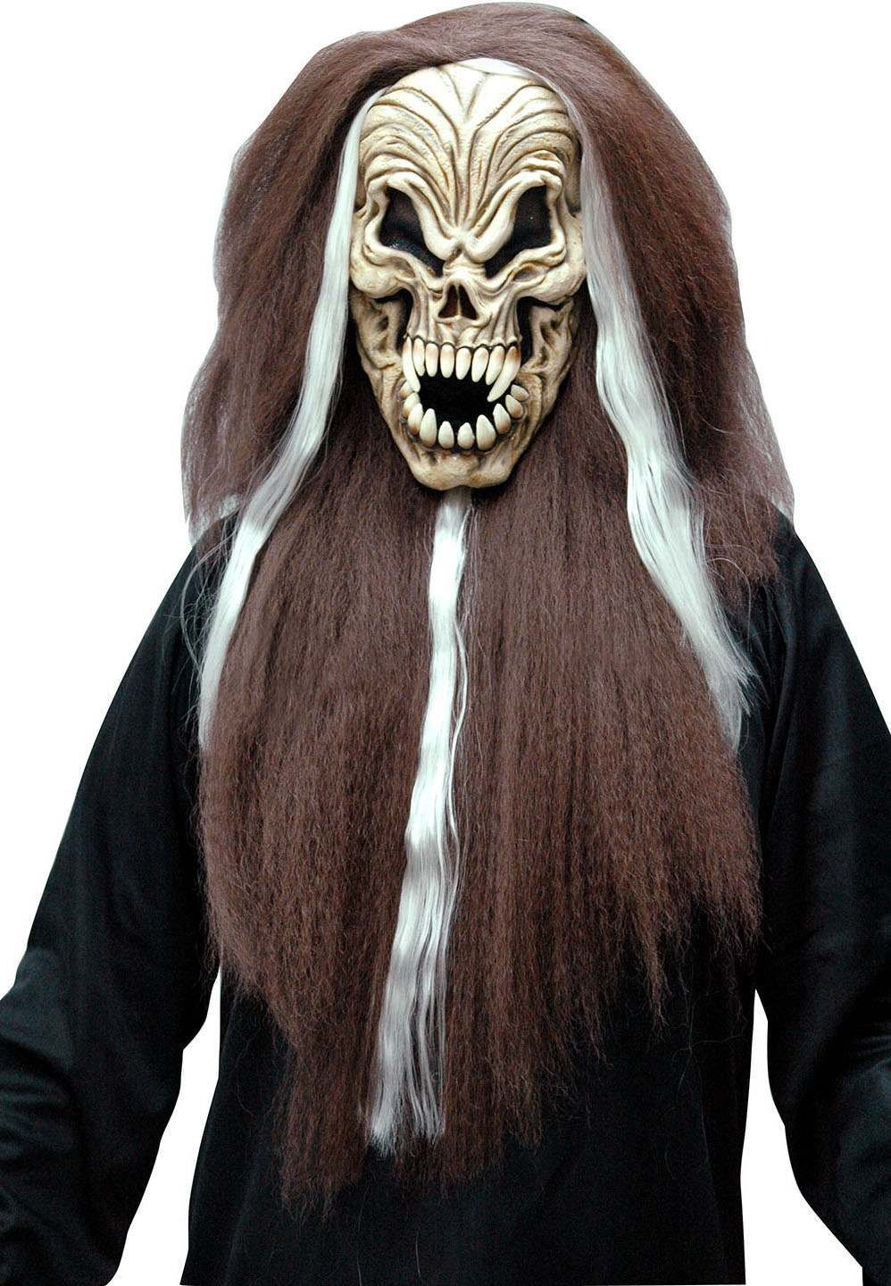 One Size Halloween Skull Mask Brown/White With Hair Fancy Dress Accessory