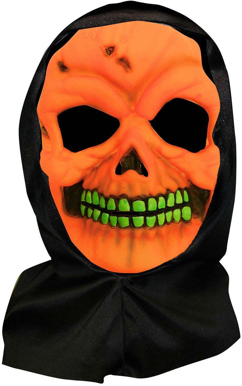 One Size Halloween Skull Hooded Mask Neon Orange Fancy Dress Accessory