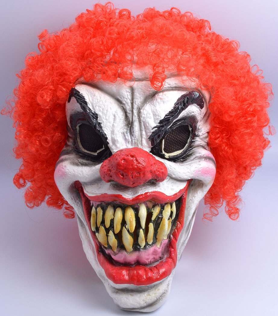 One Size Clown Mask + Hair Fancy Dress Accessory