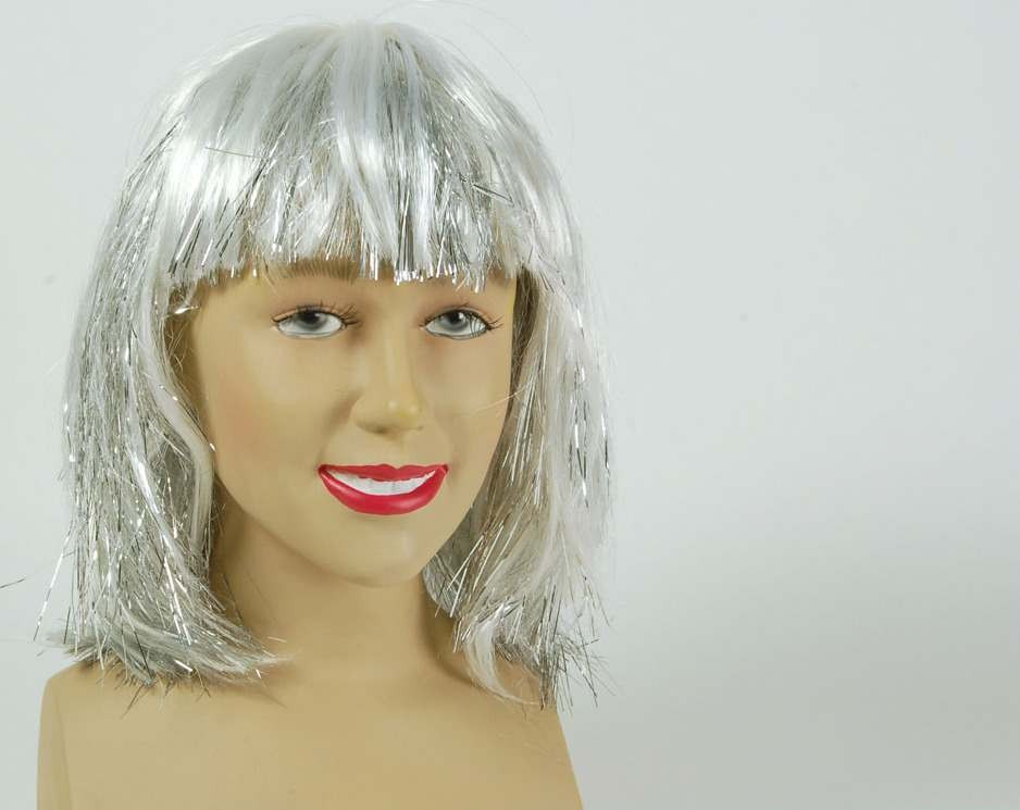 Fringe Silver & Tinsel Streaks (Fancy Dress Wigs)