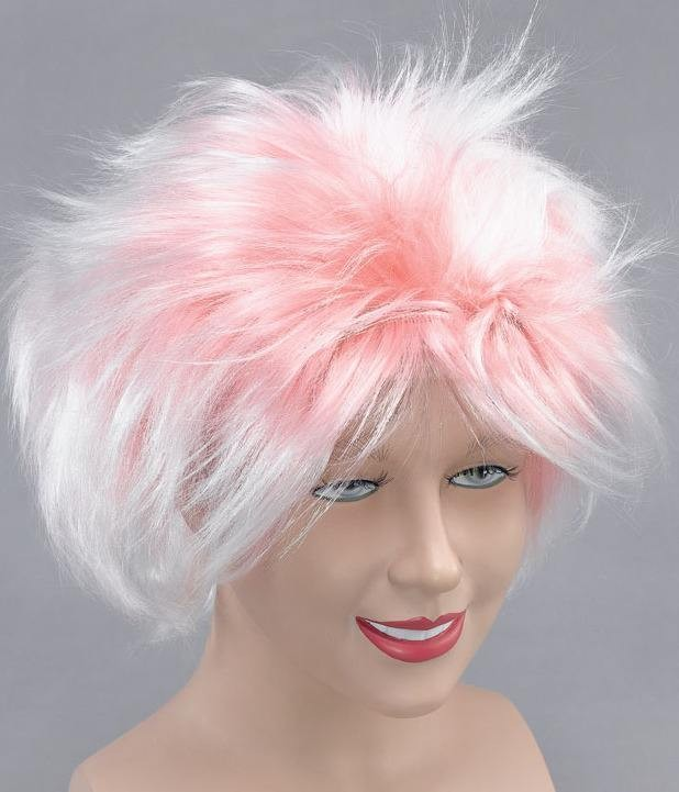 Female Rock Star Wig. Pink/White (Fancy Dress Wigs)