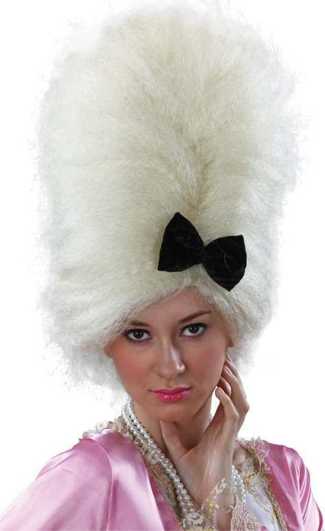 Pampadour Style Wig. White (Fancy Dress Wigs)