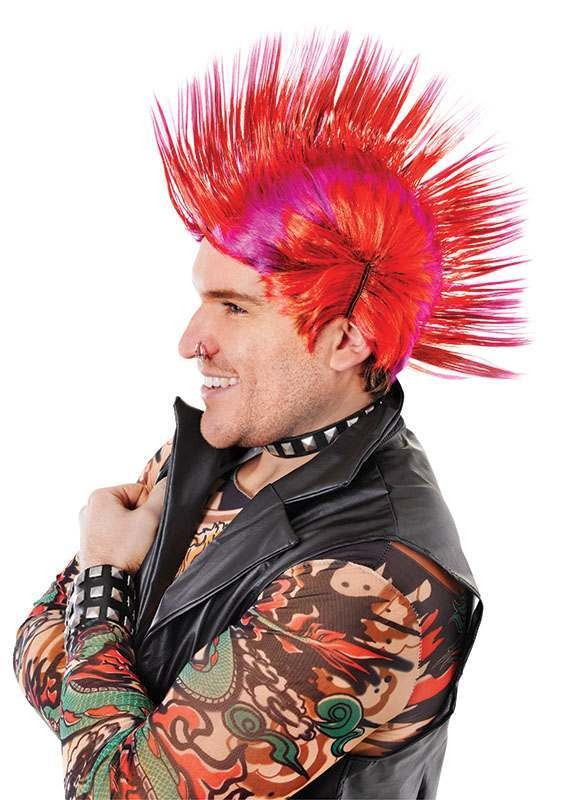 Mohican. Red/Purple Wigs
