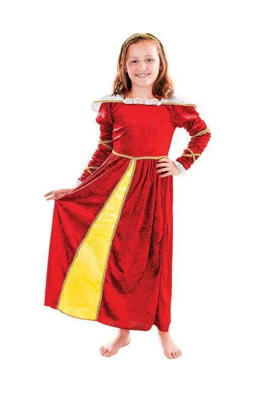 Girls Tudor Girl, With-Headpiece (146Cm) Tudor Outfit - One Size (Red)