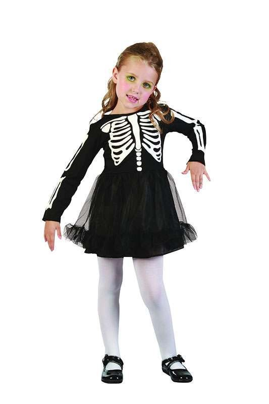 Toddler Skeleton Girl Halloween Outfit - One Size (Black, White)