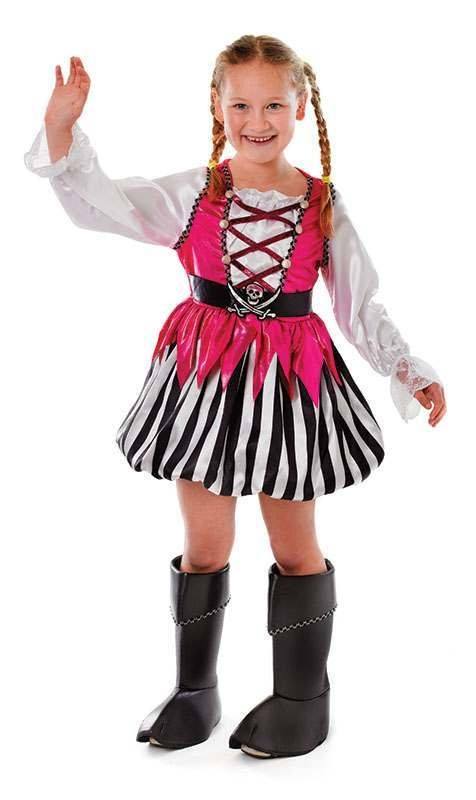 Girls Pirate Girl. Pink Pirates Outfit - (Pink)