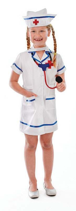 Girls Nurse Doctors/Nurses Outfit - (White)